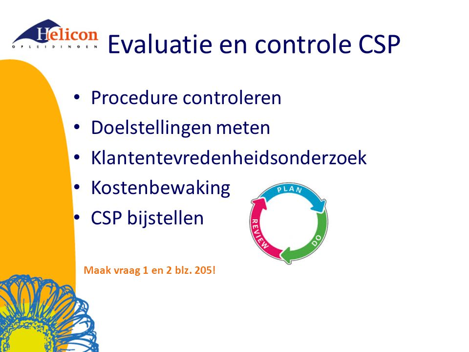 Evaluatie en controle CSP