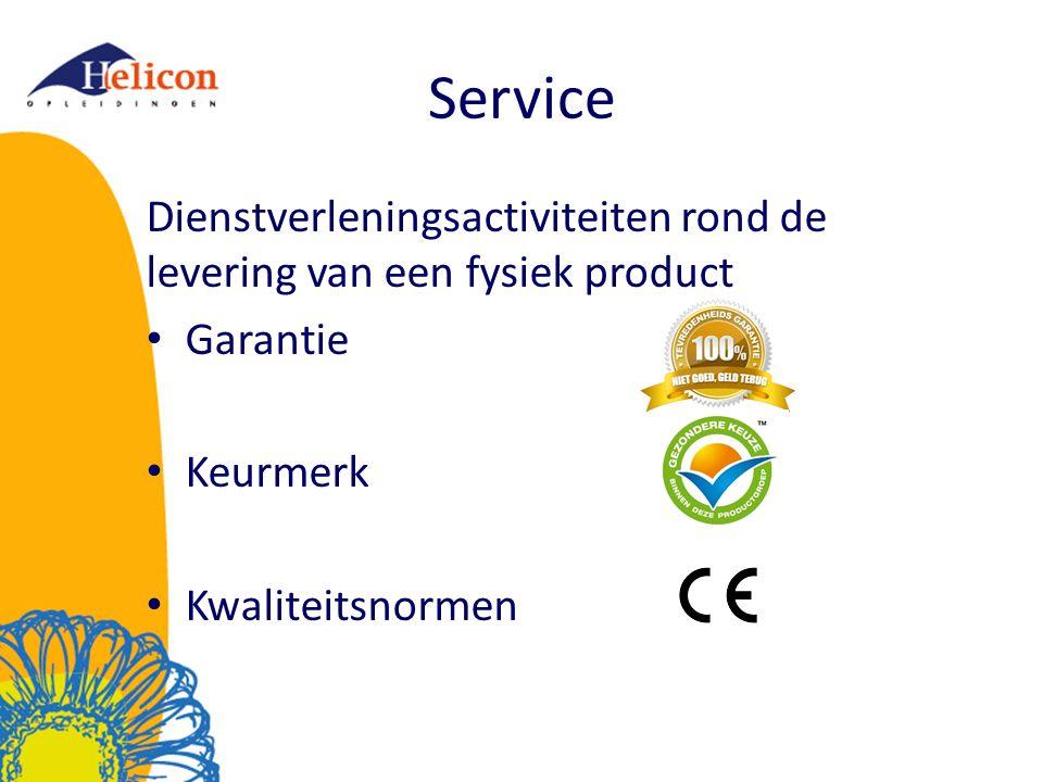 Service Dienstverleningsactiviteiten rond de levering van een fysiek product. Garantie. Keurmerk.