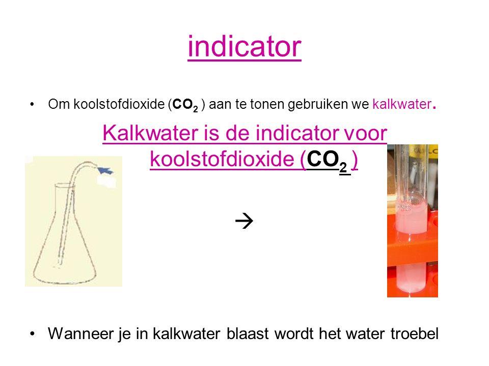 Kalkwater is de indicator voor koolstofdioxide (CO2 )