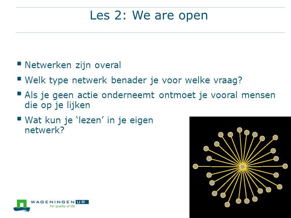 Les 2: We are open Netwerken zijn overal