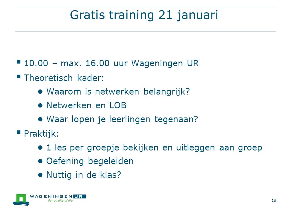 Gratis training 21 januari