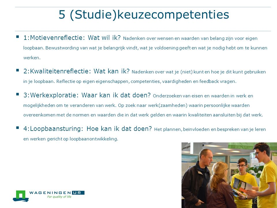 5 (Studie)keuzecompetenties
