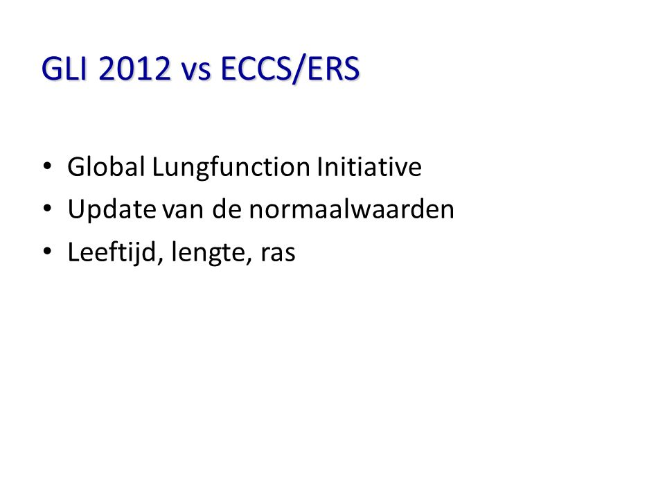 GLI 2012 vs ECCS/ERS Global Lungfunction Initiative