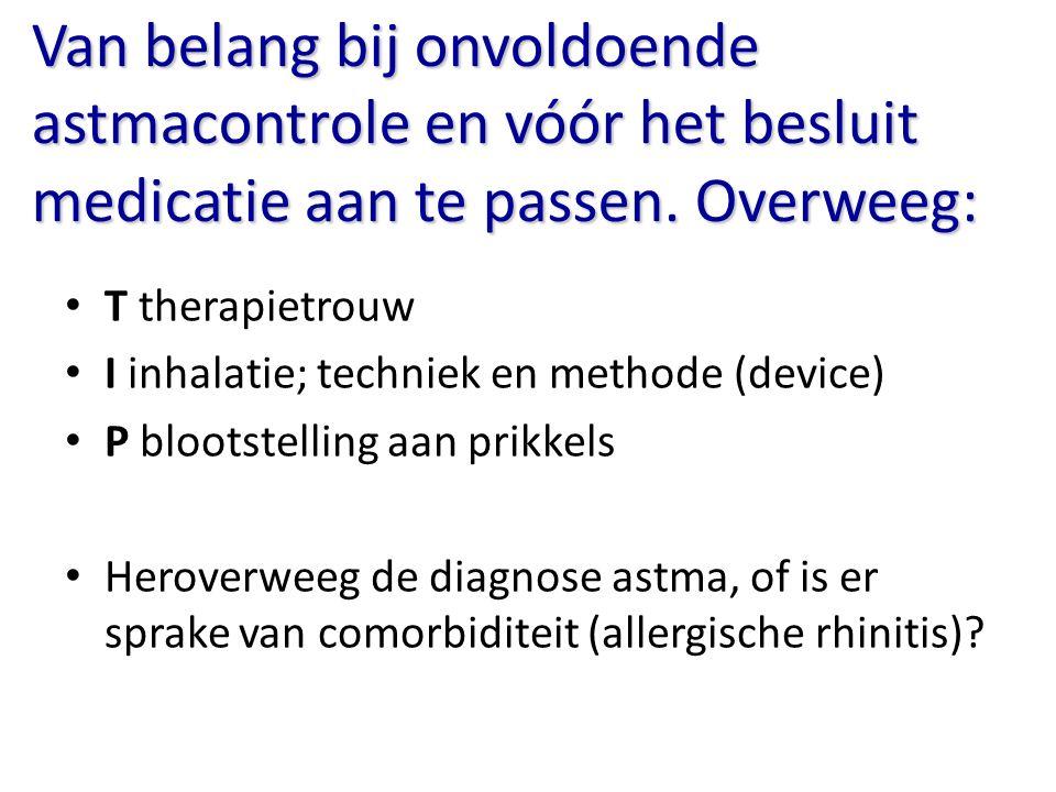 Van belang bij onvoldoende astmacontrole en vóór het besluit medicatie aan te passen. Overweeg:
