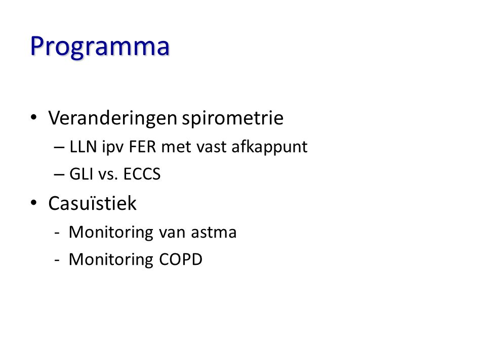 Programma Veranderingen spirometrie Casuïstiek