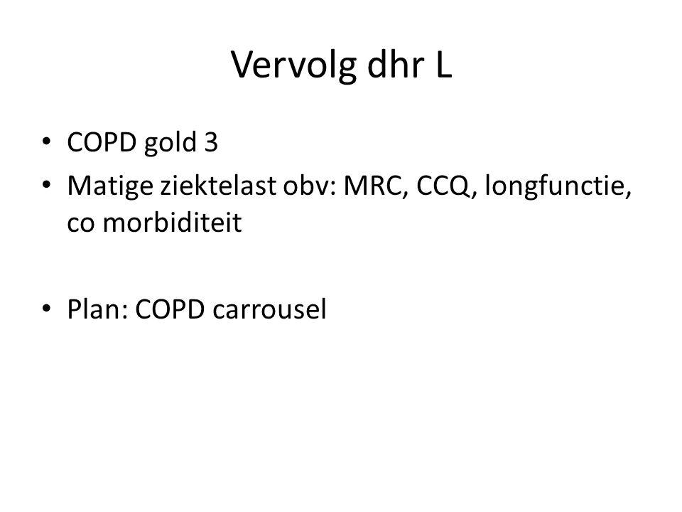 Vervolg dhr L COPD gold 3. Matige ziektelast obv: MRC, CCQ, longfunctie, co morbiditeit.