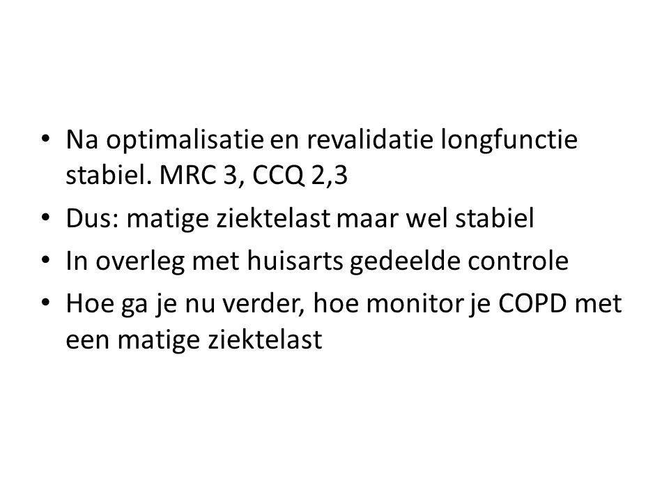 Na optimalisatie en revalidatie longfunctie stabiel. MRC 3, CCQ 2,3
