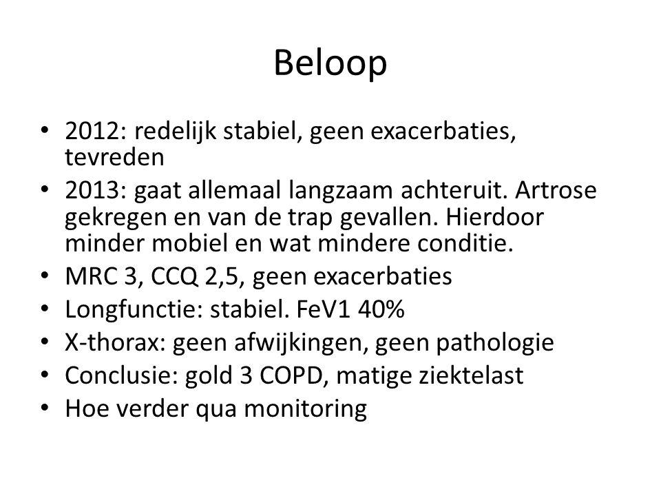 Beloop 2012: redelijk stabiel, geen exacerbaties, tevreden