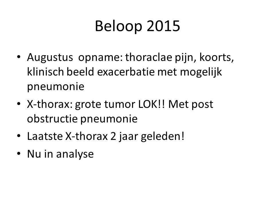 Beloop 2015 Augustus opname: thoraclae pijn, koorts, klinisch beeld exacerbatie met mogelijk pneumonie.