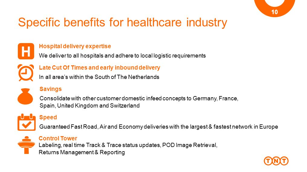 Specific benefits for healthcare industry