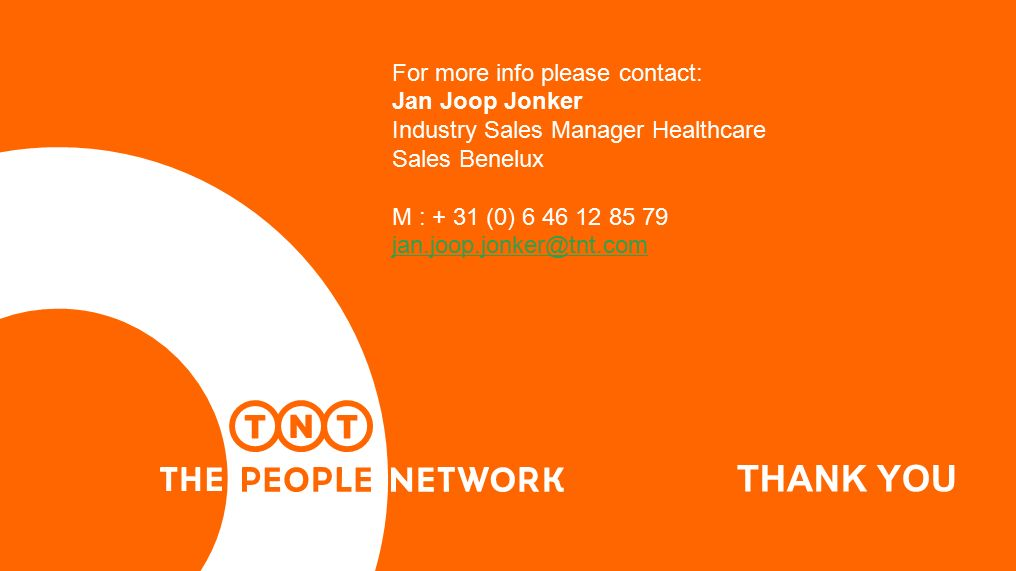 THANK YOU For more info please contact: Jan Joop Jonker