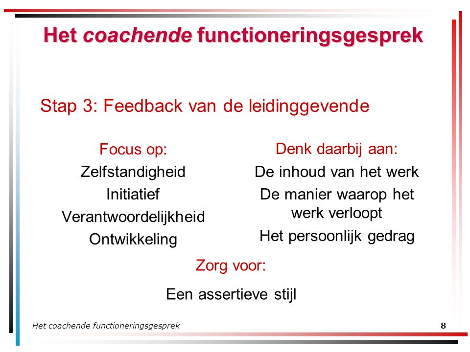 Het coachende functioneringsgesprek