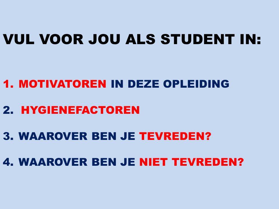 VUL VOOR JOU ALS STUDENT IN: