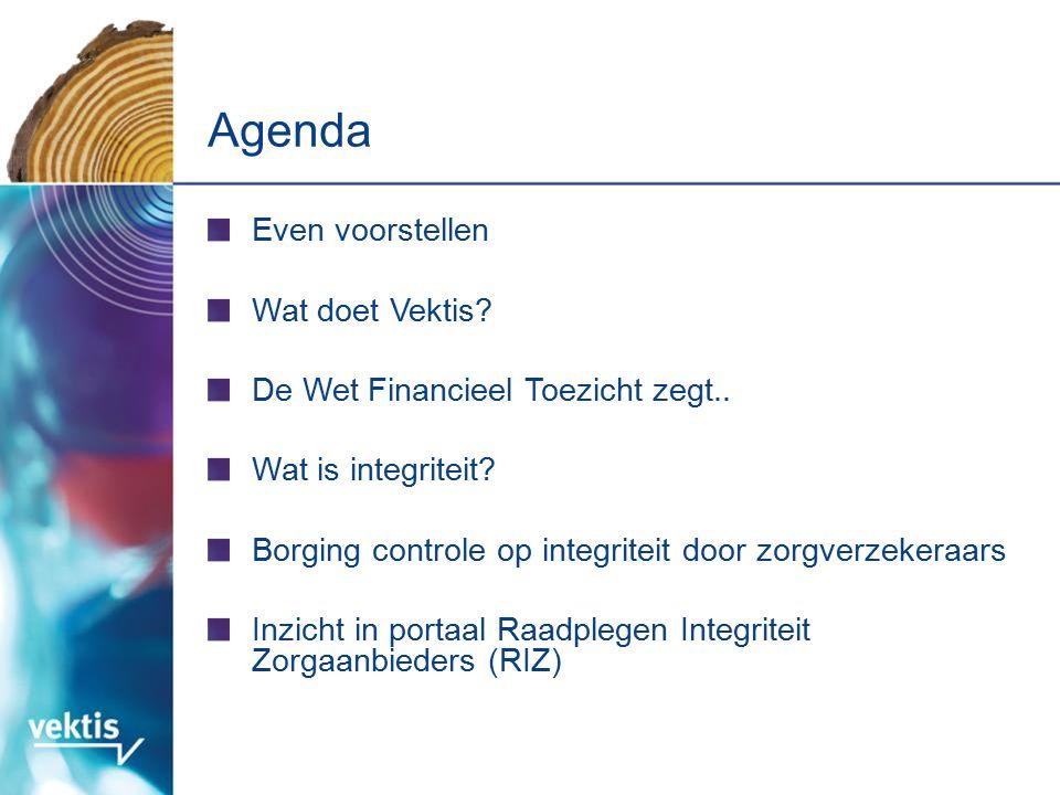Agenda Even voorstellen Wat doet Vektis