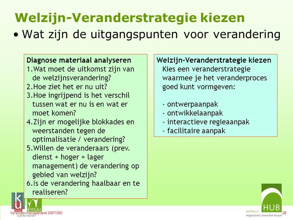 Welzijn-Veranderstrategie kiezen