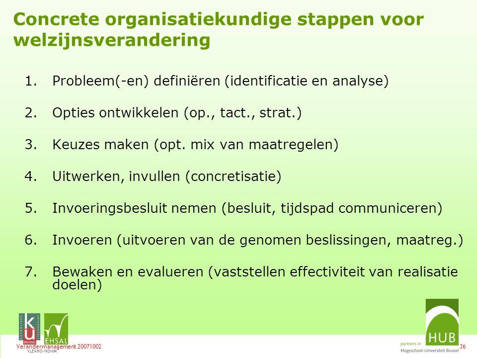 Concrete organisatiekundige stappen voor welzijnsverandering