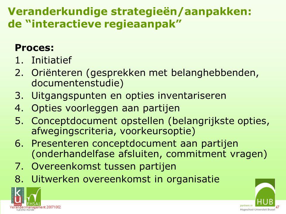 Veranderkundige strategieën/aanpakken: de interactieve regieaanpak