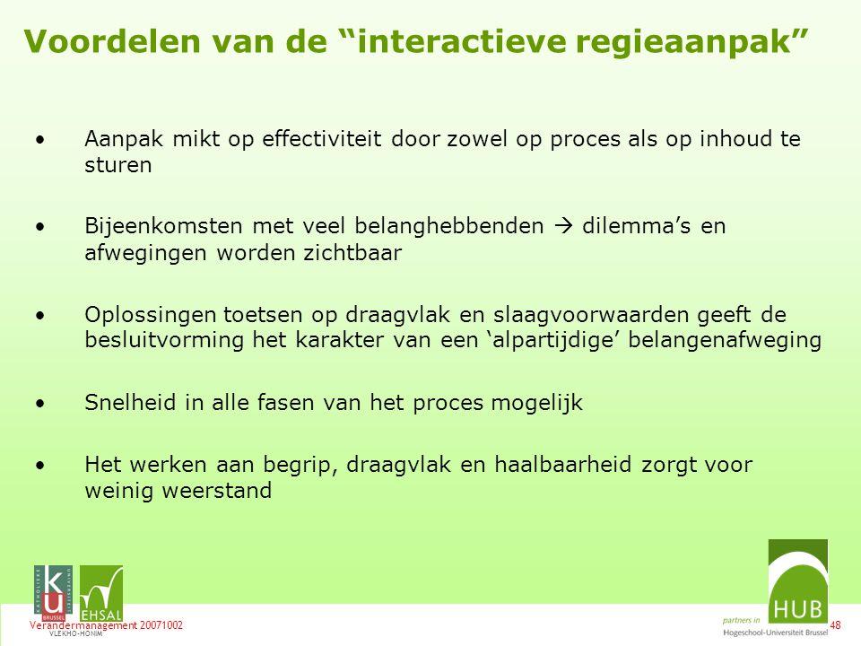 Voordelen van de interactieve regieaanpak