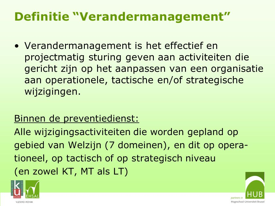 Definitie Verandermanagement