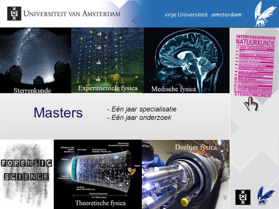 Masters Experimentele fysica - Eén jaar specialisatie