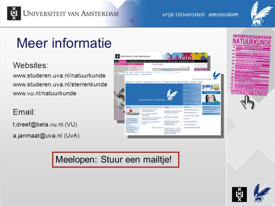 Meer informatie Meelopen: Stuur een mailtje! Websites: