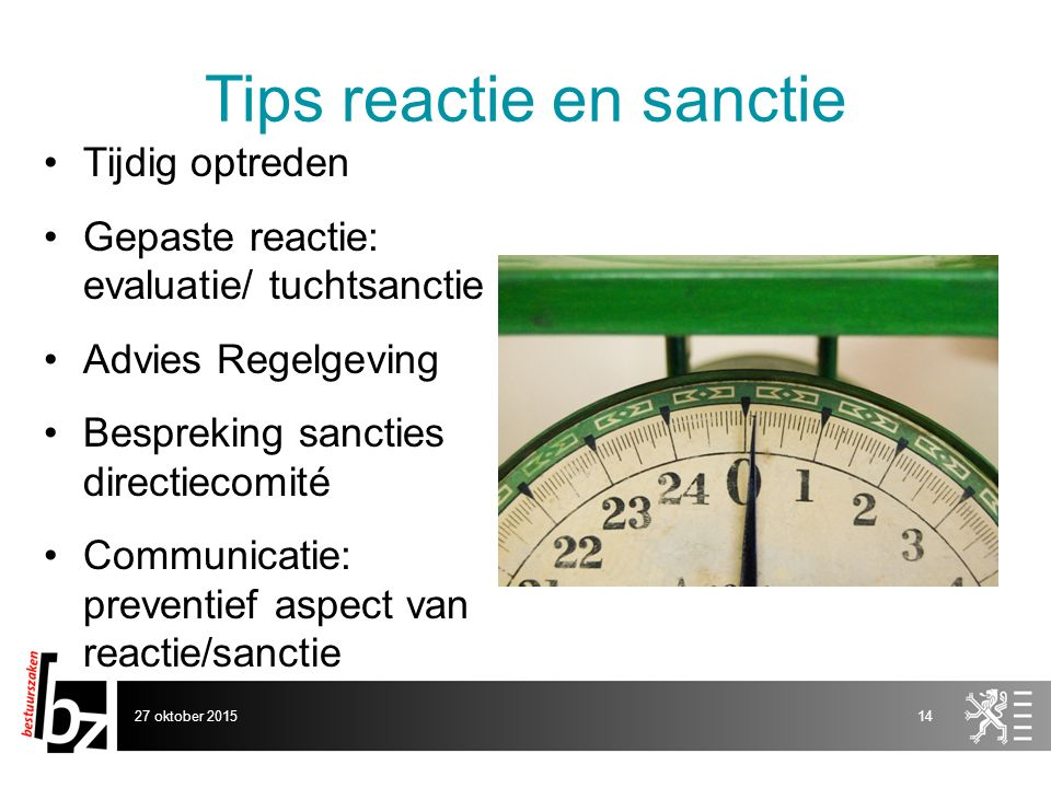 Tips reactie en sanctie