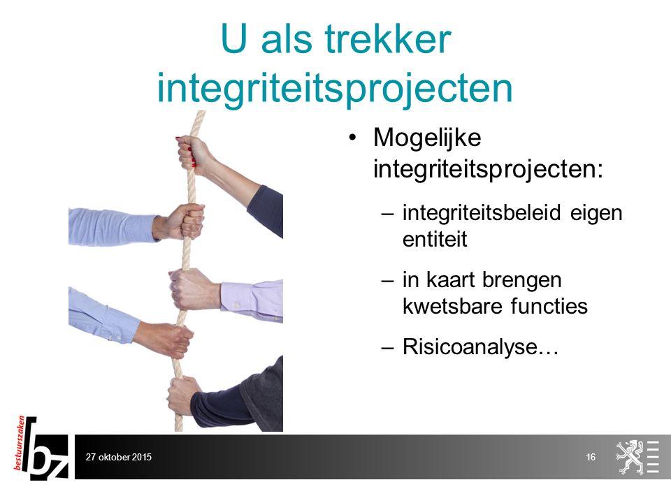 U als trekker integriteitsprojecten