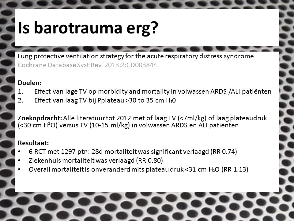 Is barotrauma erg Lung protective ventilation strategy for the acute respiratory distress syndrome.