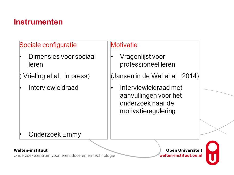 Instrumenten Sociale configuratie Dimensies voor sociaal leren