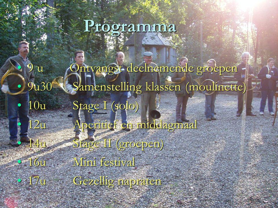Programma 9 u Ontvangst deelnemende groepen