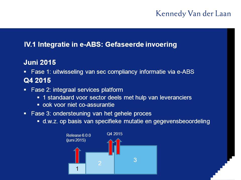 IV.1 Integratie in e-ABS: Gefaseerde invoering