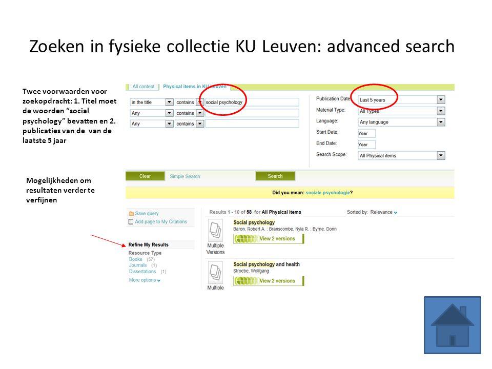 Zoeken in fysieke collectie KU Leuven: advanced search