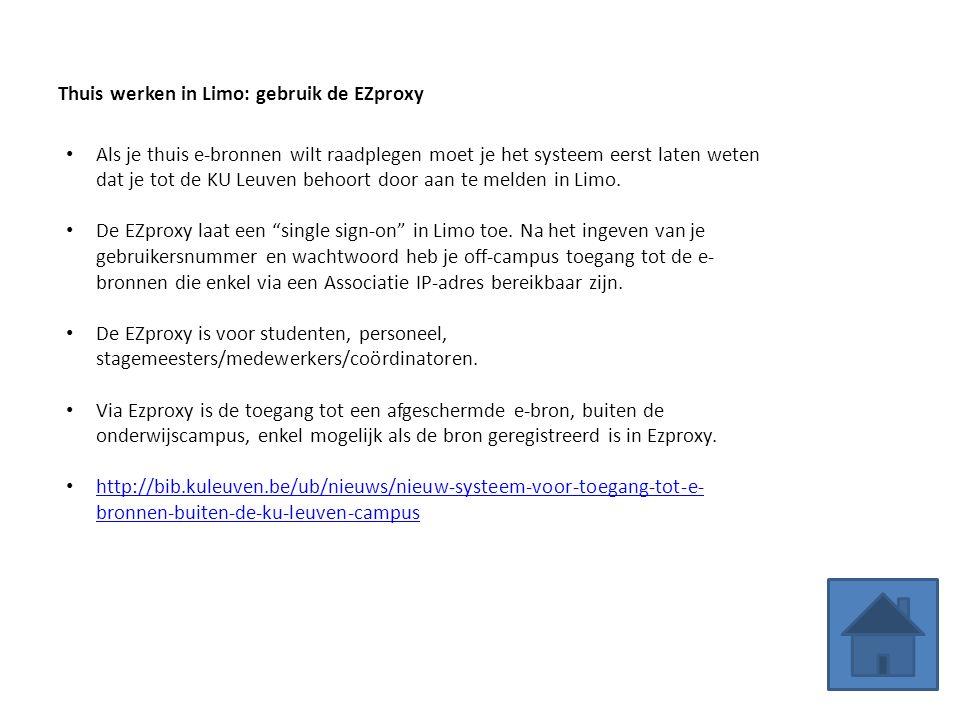 Thuis werken in Limo: gebruik de EZproxy