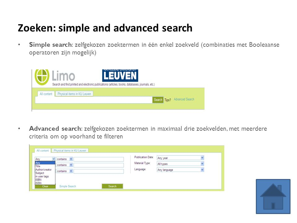 Zoeken: simple and advanced search