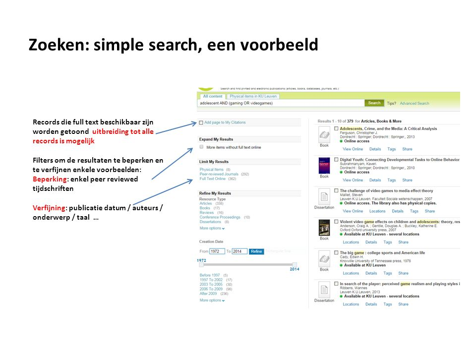 Zoeken: simple search, een voorbeeld