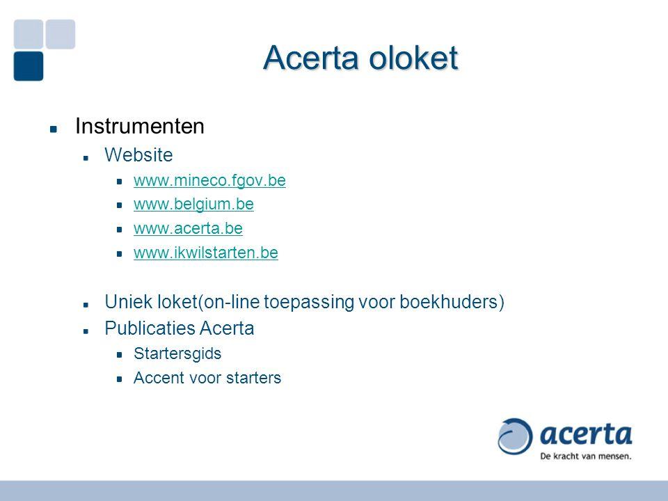Acerta oloket Instrumenten Website