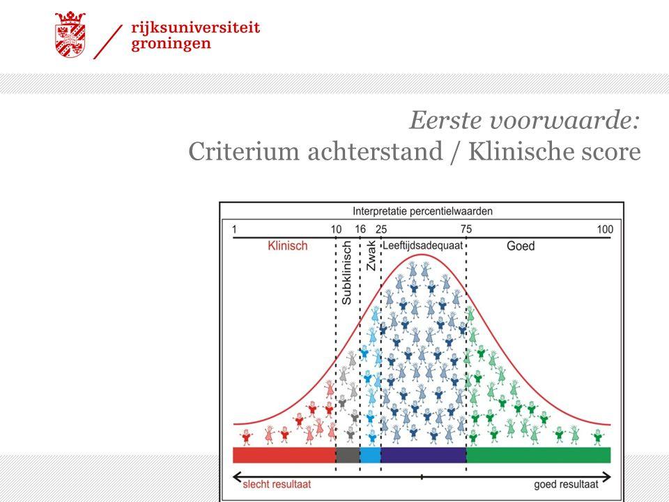 Eerste voorwaarde: Criterium achterstand / Klinische score