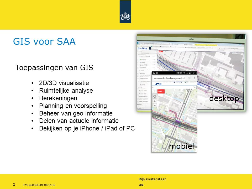 GIS voor SAA desktop mobiel Toepassingen van GIS 2D/3D visualisatie