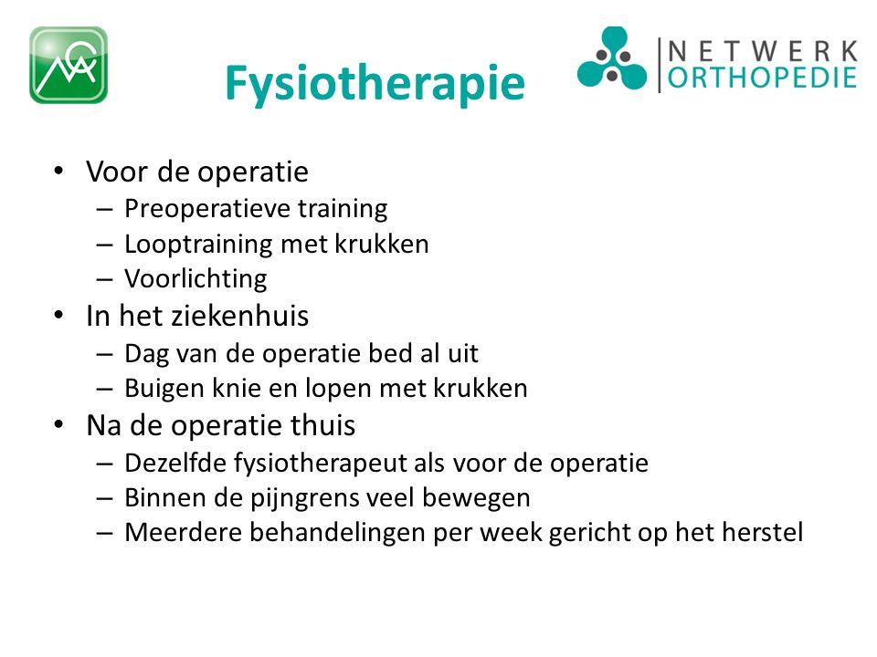 Fysiotherapie Voor de operatie In het ziekenhuis Na de operatie thuis