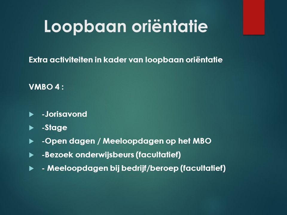Loopbaan oriëntatie Extra activiteiten in kader van loopbaan oriëntatie. VMBO 4 : -Jorisavond. -Stage.