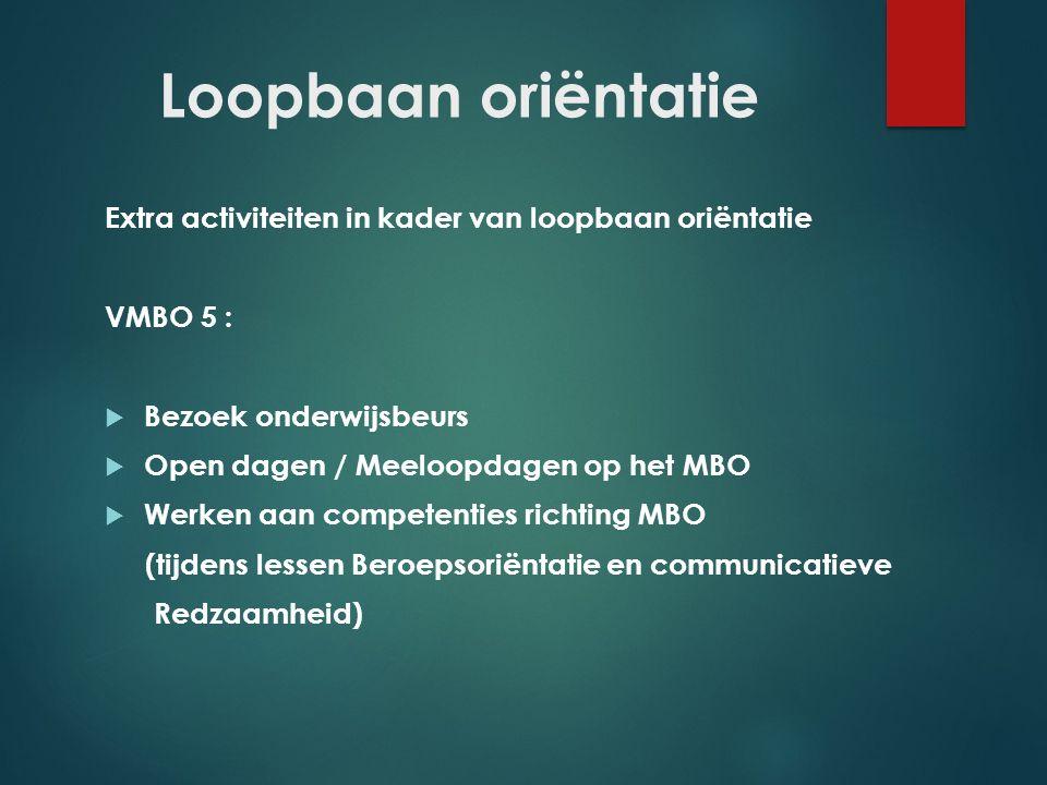 Loopbaan oriëntatie Extra activiteiten in kader van loopbaan oriëntatie. VMBO 5 : Bezoek onderwijsbeurs.