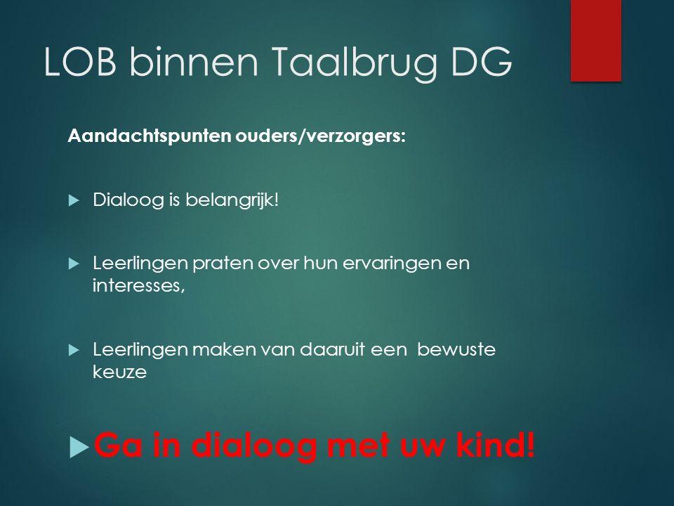 LOB binnen Taalbrug DG Ga in dialoog met uw kind!
