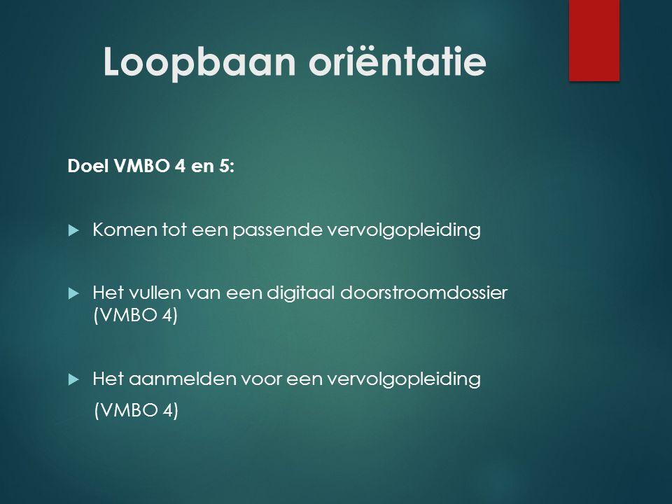 Loopbaan oriëntatie Doel VMBO 4 en 5: