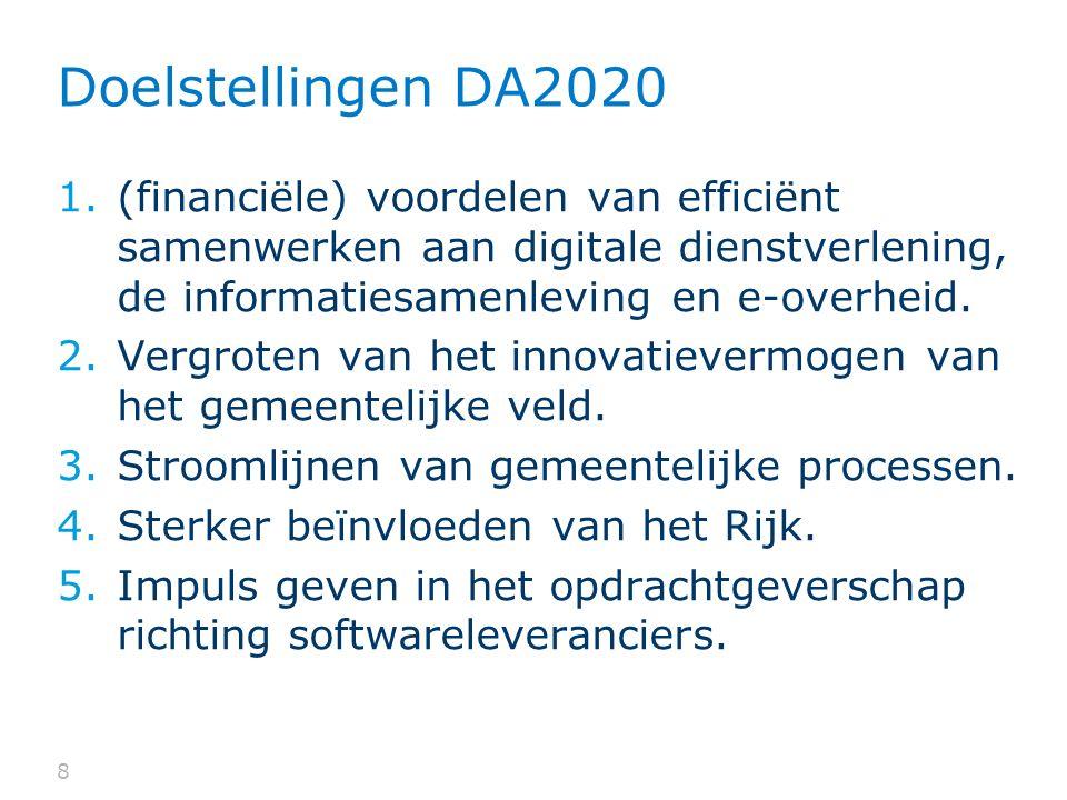 Doelstellingen DA2020 (financiële) voordelen van efficiënt samenwerken aan digitale dienstverlening, de informatiesamenleving en e-overheid.