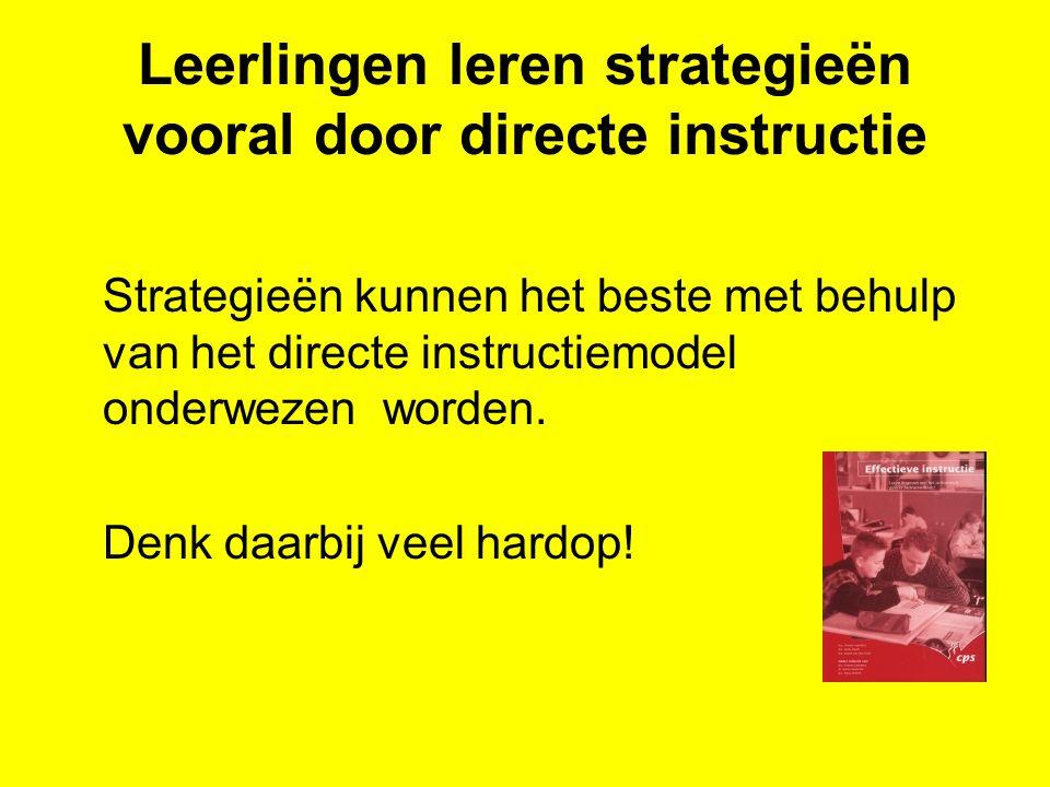 Leerlingen leren strategieën vooral door directe instructie