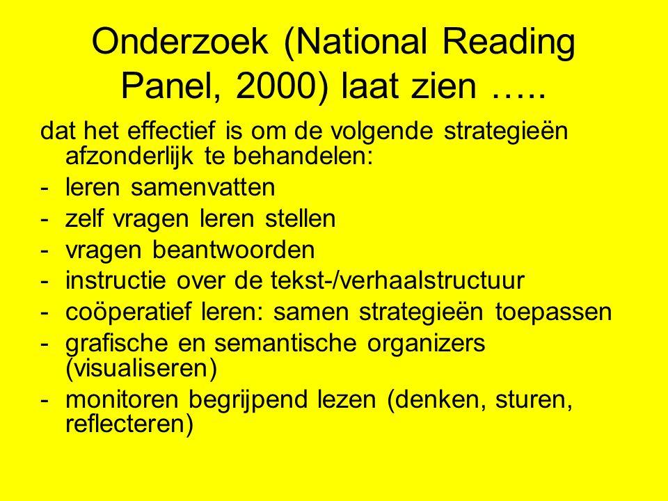 Onderzoek (National Reading Panel, 2000) laat zien …..