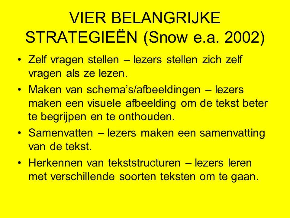 VIER BELANGRIJKE STRATEGIEËN (Snow e.a. 2002)