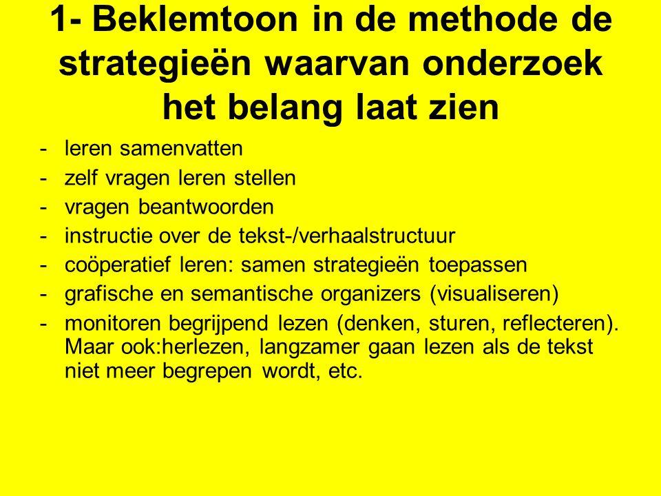 1- Beklemtoon in de methode de strategieën waarvan onderzoek het belang laat zien