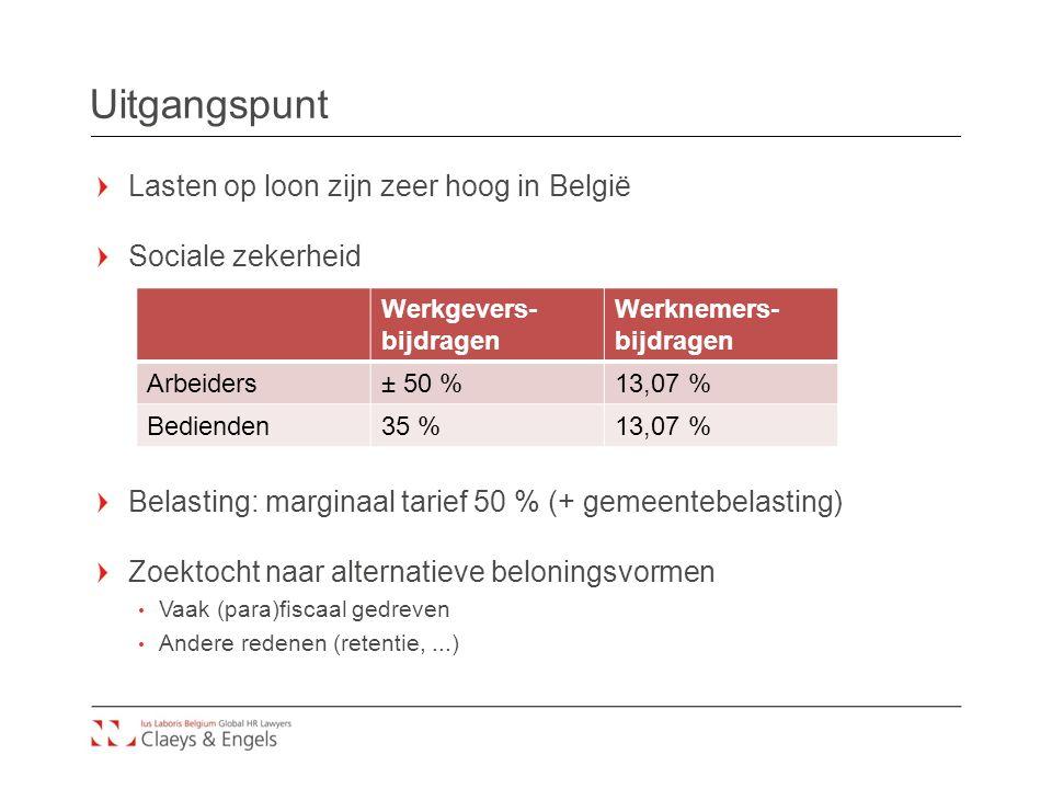 Uitgangspunt Lasten op loon zijn zeer hoog in België Sociale zekerheid