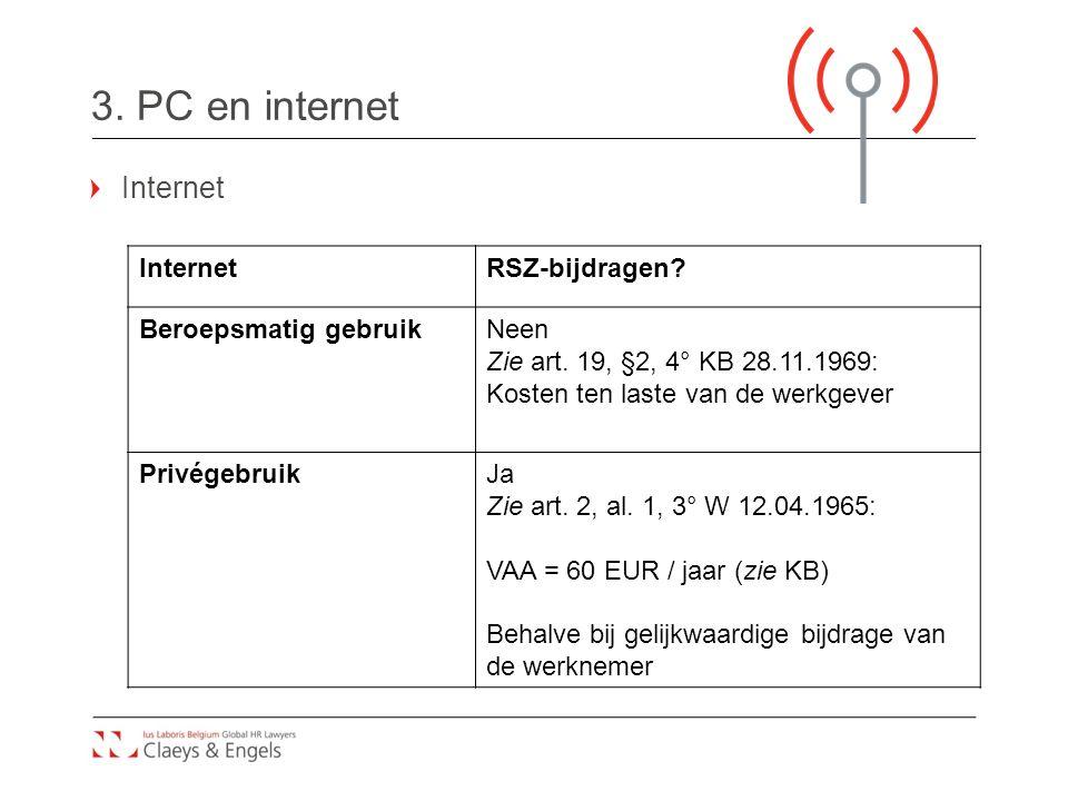 3. PC en internet Internet Internet RSZ-bijdragen